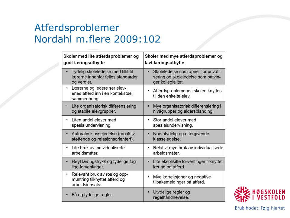 Atferdsproblemer Nordahl m.flere 2009:102