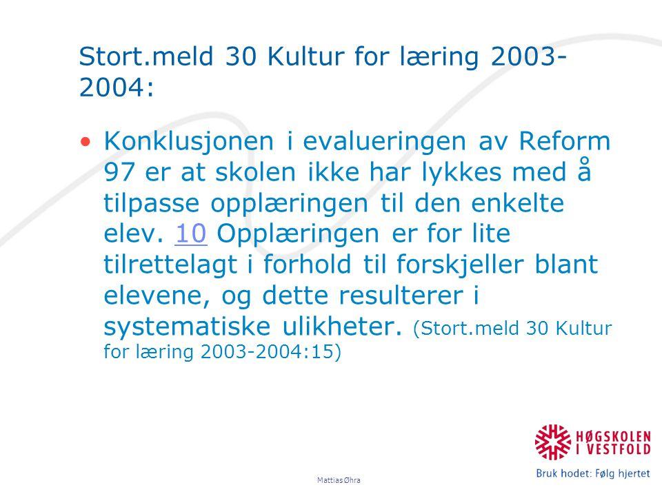 Stort.meld 30 Kultur for læring 2003-2004: