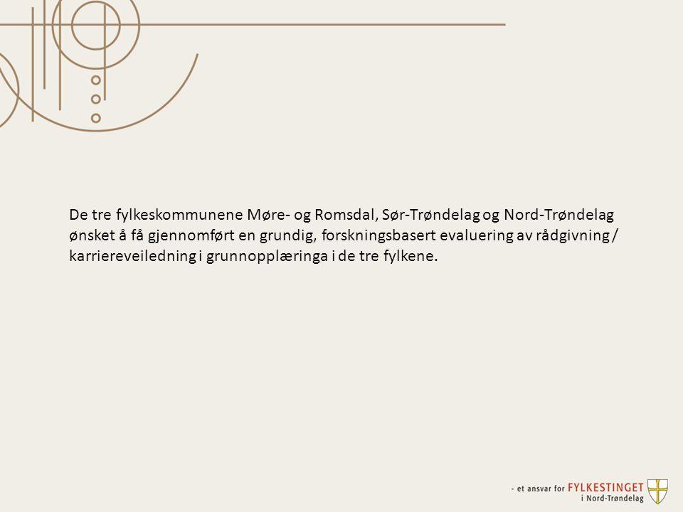 De tre fylkeskommunene Møre- og Romsdal, Sør-Trøndelag og Nord-Trøndelag ønsket å få gjennomført en grundig, forskningsbasert evaluering av rådgivning / karriereveiledning i grunnopplæringa i de tre fylkene.