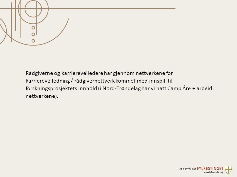 Rådgiverne og karriereveiledere har gjennom nettverkene for karriereveiledning / rådgivernettverk kommet med innspill til forskningsprosjektets innhold (i Nord-Trøndelag har vi hatt Camp Åre + arbeid i nettverkene).