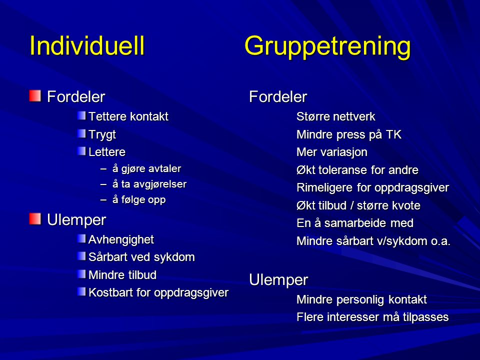 Individuell Gruppetrening