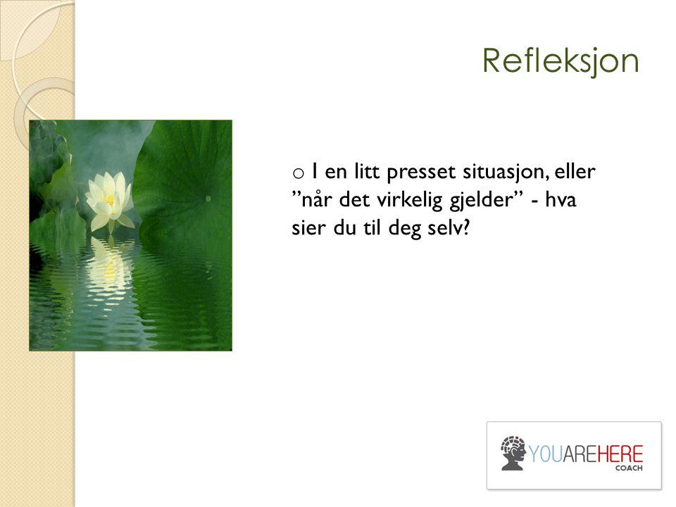 Refleksjon I en litt presset situasjon, eller når det virkelig gjelder - hva sier du til deg selv
