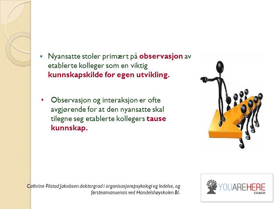 Nyansatte stoler primært på observasjon av etablerte kolleger som en viktig kunnskapskilde for egen utvikling.