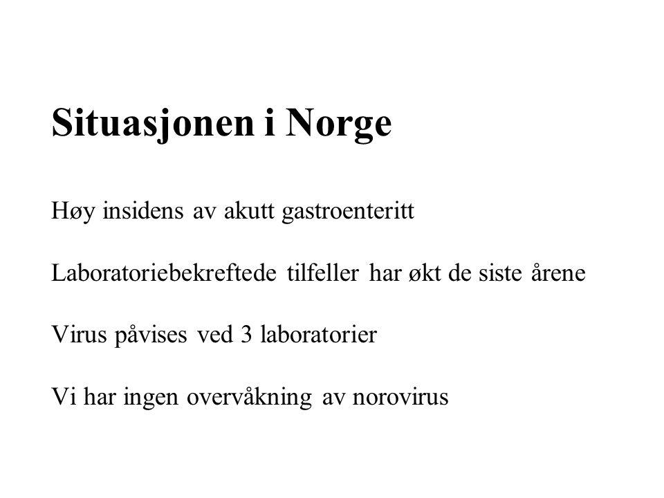 Situasjonen i Norge Høy insidens av akutt gastroenteritt Laboratoriebekreftede tilfeller har økt de siste årene Virus påvises ved 3 laboratorier Vi har ingen overvåkning av norovirus