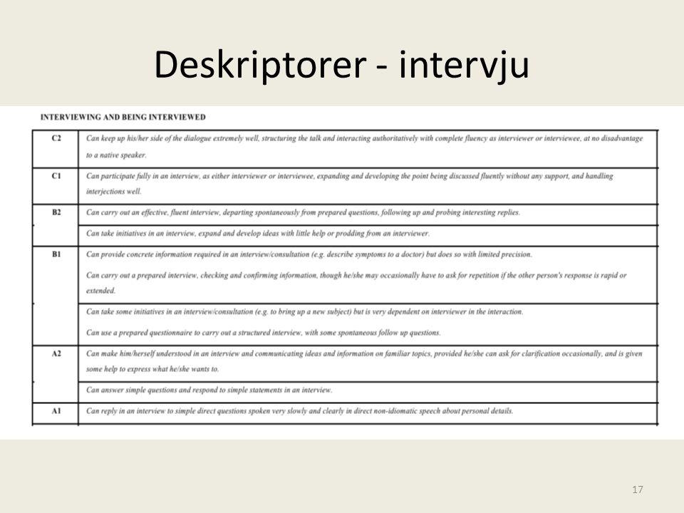 Deskriptorer - intervju