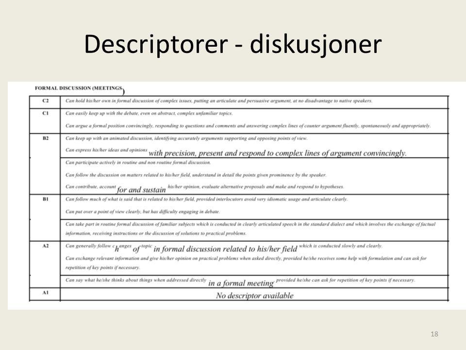 Descriptorer - diskusjoner