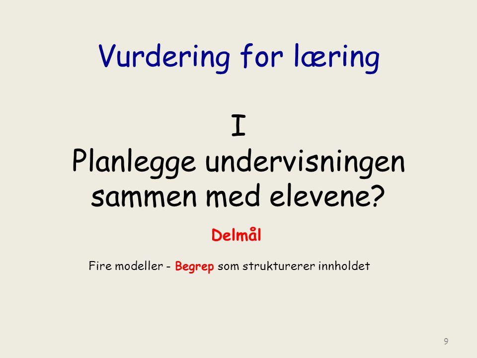 Vurdering for læring I Planlegge undervisningen sammen med elevene