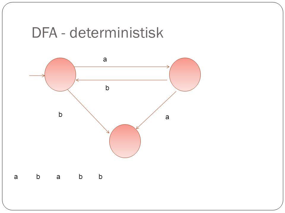 DFA - deterministisk a b b a a b a b b