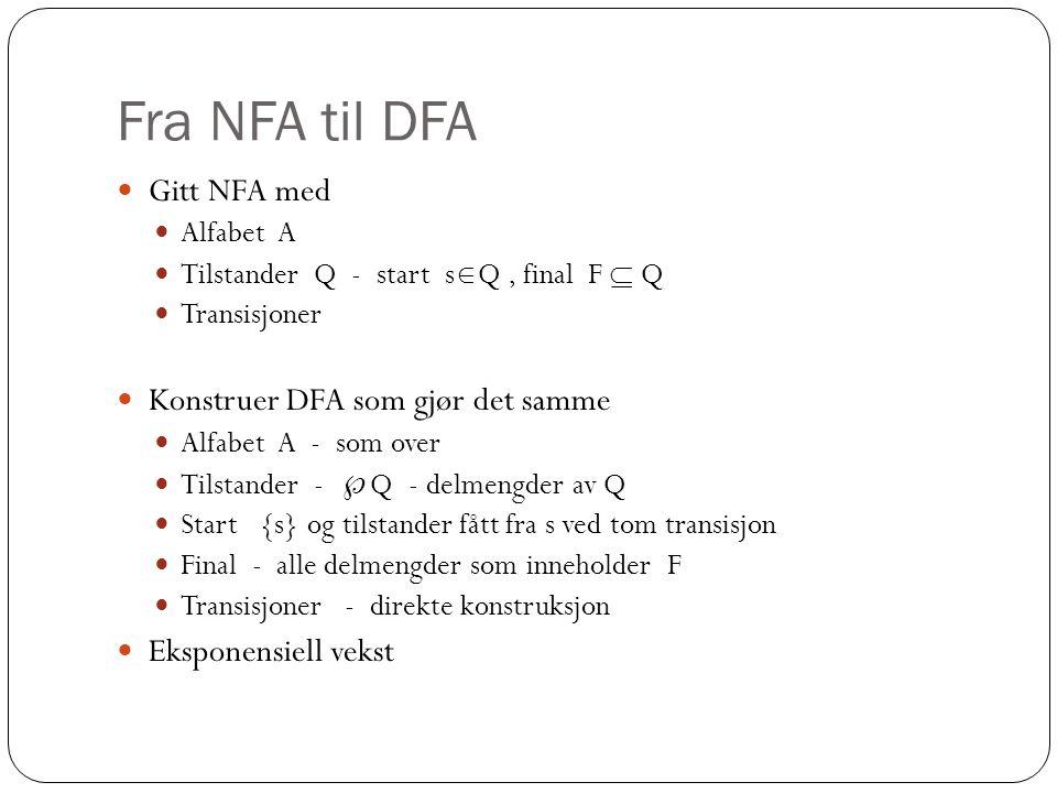 Fra NFA til DFA Gitt NFA med Konstruer DFA som gjør det samme
