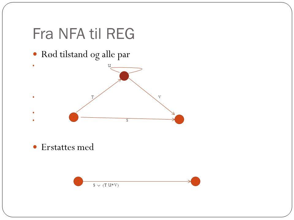 Fra NFA til REG Rød tilstand og alle par Erstattes med S  (T U* V) U