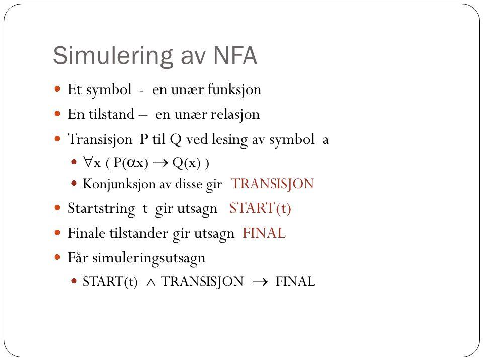 Simulering av NFA Et symbol - en unær funksjon