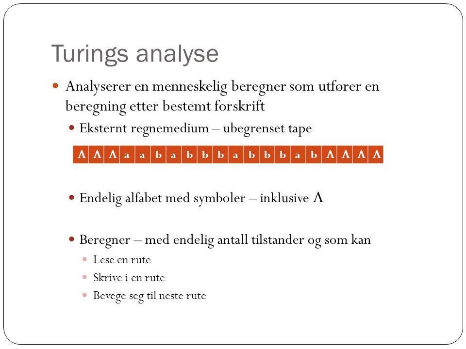 Turings analyse Analyserer en menneskelig beregner som utfører en beregning etter bestemt forskrift.