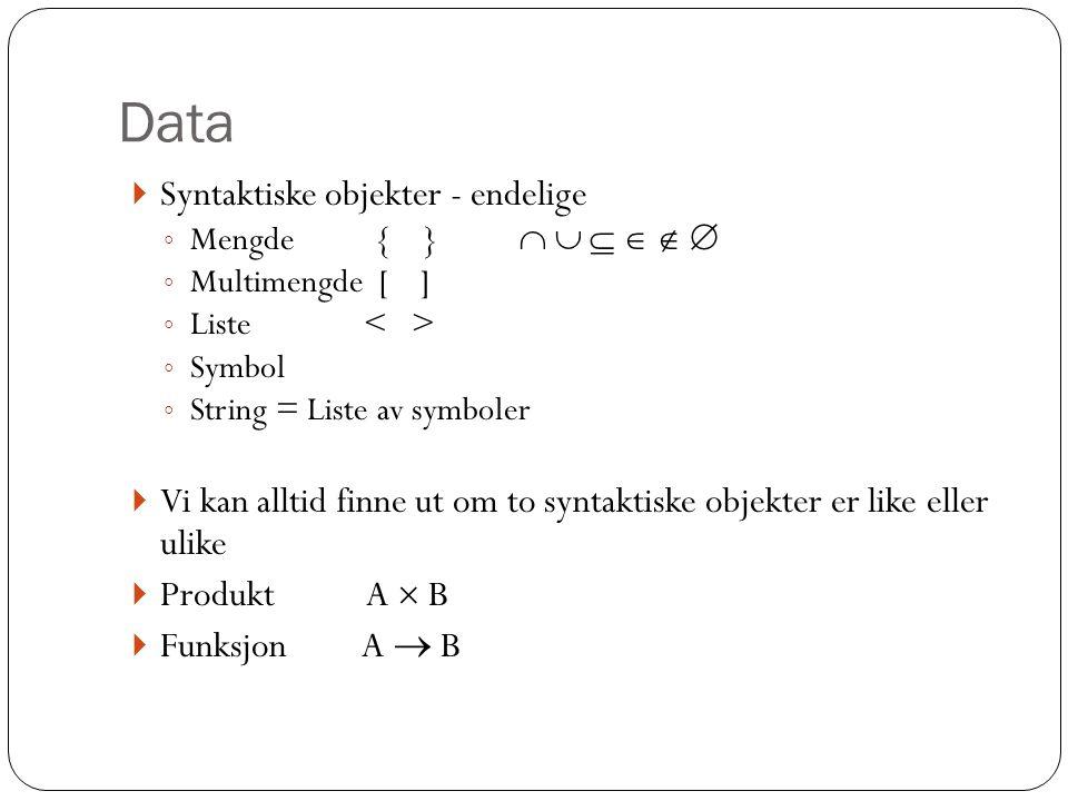 Data Syntaktiske objekter - endelige