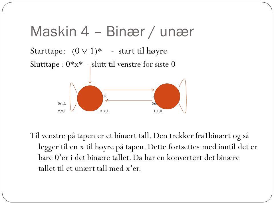 Maskin 4 – Binær / unær Starttape: (0  1)* - start til høyre