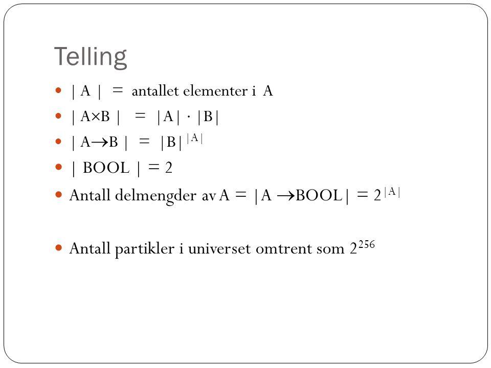 Telling | BOOL | = 2 Antall delmengder av A = |A BOOL| = 2|A|