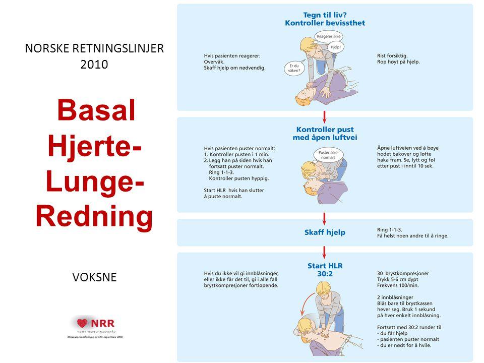 NORSKE RETNINGSLINJER 2010 Basal Hjerte- Lunge-Redning VOKSNE