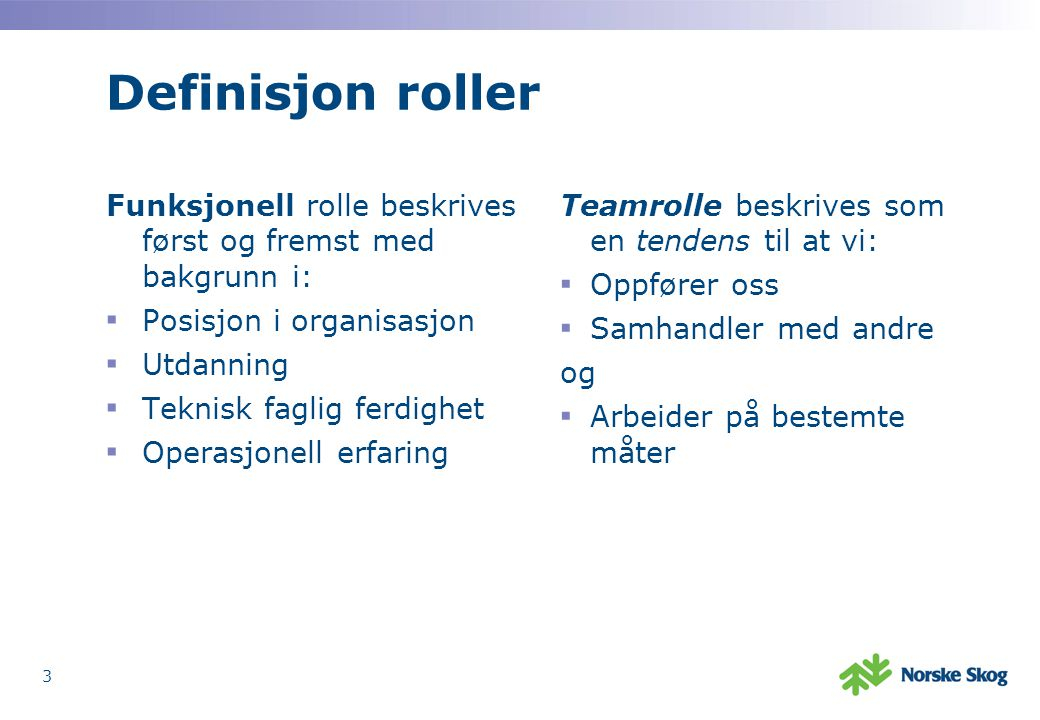 Definisjon roller Funksjonell rolle beskrives først og fremst med bakgrunn i: Posisjon i organisasjon.