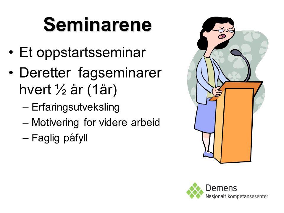 Seminarene Et oppstartsseminar Deretter fagseminarer hvert ½ år (1år)