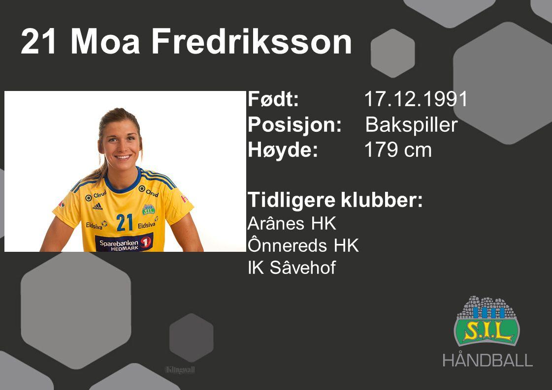 21 Moa Fredriksson Født: 17.12.1991 Posisjon: Bakspiller Høyde: 179 cm