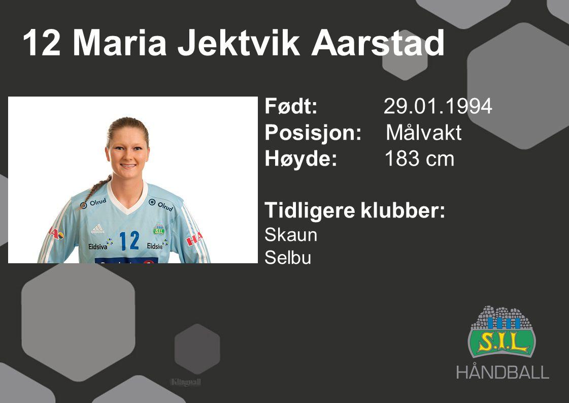 12 Maria Jektvik Aarstad Født: 29.01.1994 Posisjon: Målvakt