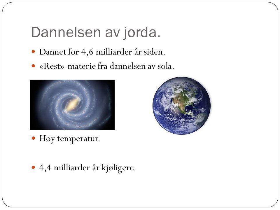 Dannelsen av jorda. Dannet for 4,6 milliarder år siden.
