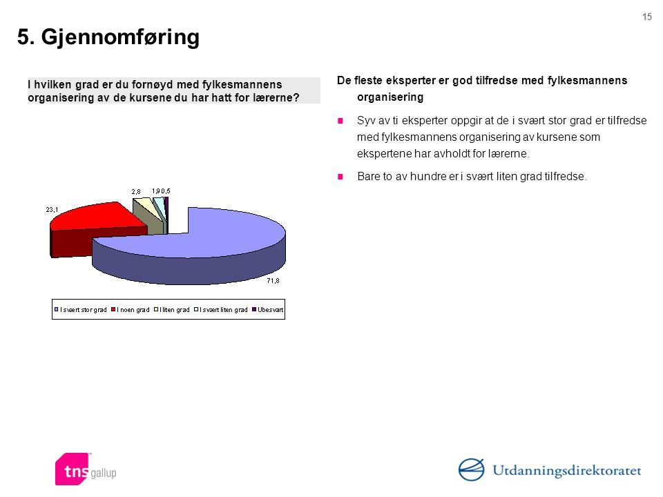 5. Gjennomføring De fleste eksperter er god tilfredse med fylkesmannens organisering.