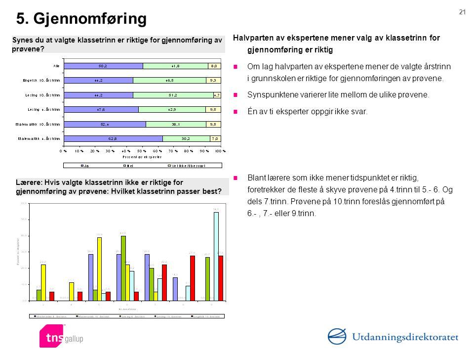 5. Gjennomføring Halvparten av ekspertene mener valg av klassetrinn for gjennomføring er riktig.