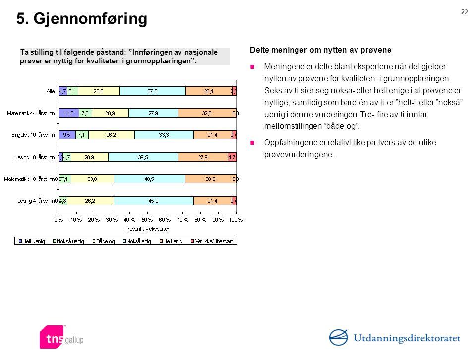 5. Gjennomføring Delte meninger om nytten av prøvene