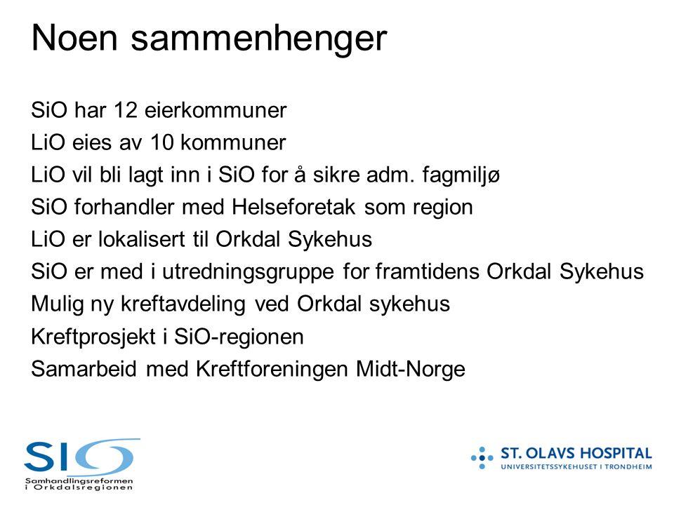 Noen sammenhenger SiO har 12 eierkommuner LiO eies av 10 kommuner