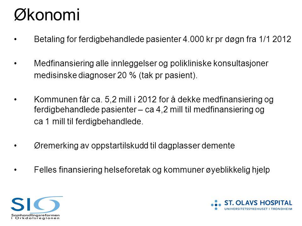 Økonomi Betaling for ferdigbehandlede pasienter 4.000 kr pr døgn fra 1/1 2012. Medfinansiering alle innleggelser og polikliniske konsultasjoner.
