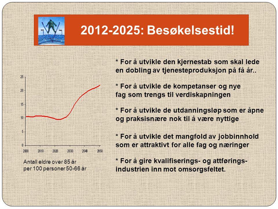 2012-2025: Besøkelsestid! * For å utvikle den kjernestab som skal lede en dobling av tjenesteproduksjon på få år..