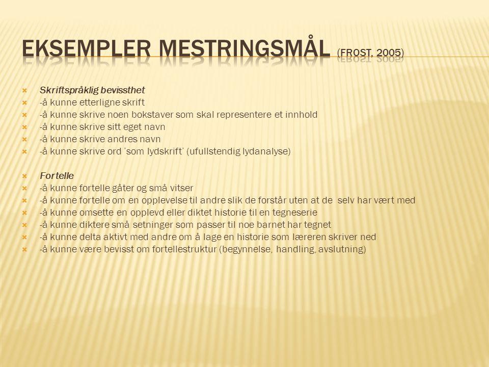Eksempler mestringsmål (Frost, 2005)