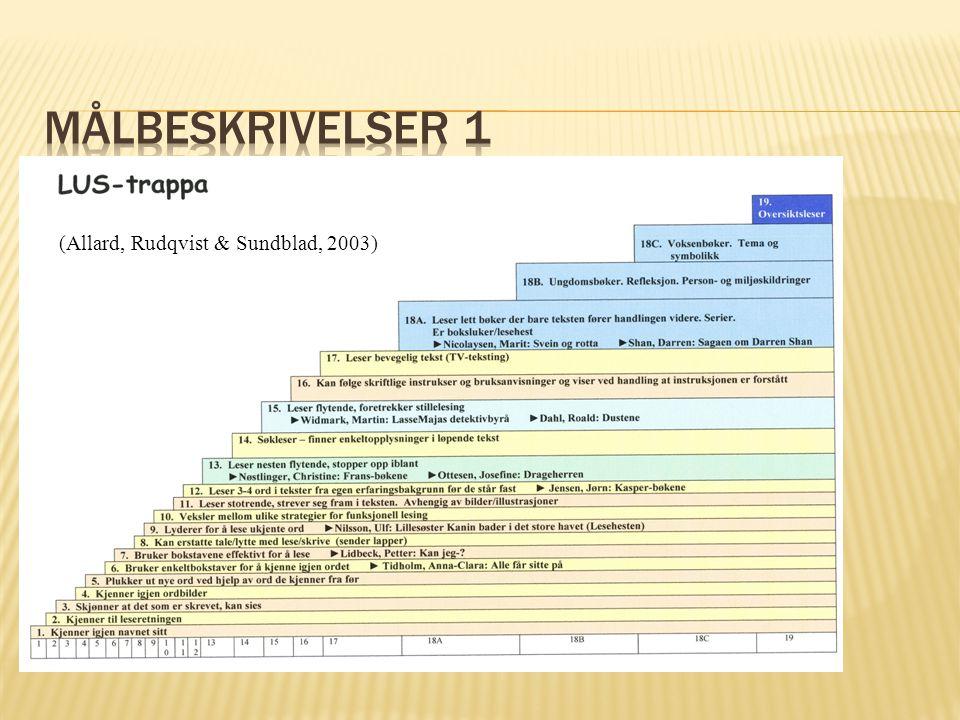 Målbeskrivelser 1 (Allard, Rudqvist & Sundblad, 2003)