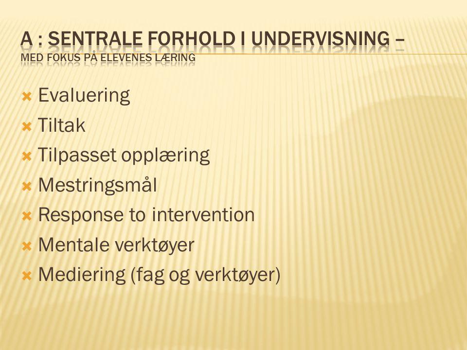 A : sentrale forhold i undervisning – med fokus på elevenes læring