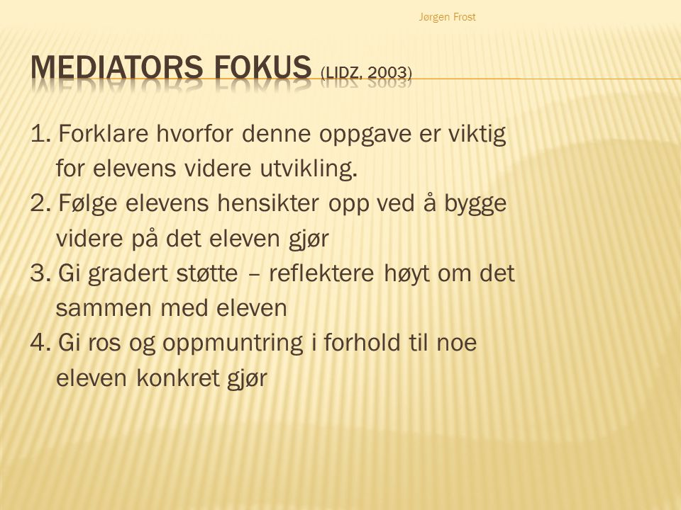 Mediators fokus (Lidz, 2003)