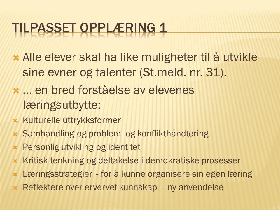 Tilpasset opplæring 1 Alle elever skal ha like muligheter til å utvikle sine evner og talenter (St.meld. nr. 31).