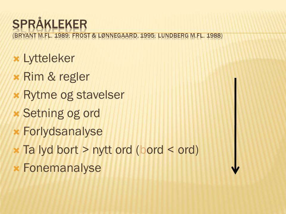 Språkleker (Bryant m. fl. 1989; Frost & Lønnegaard, 1995; Lundberg m