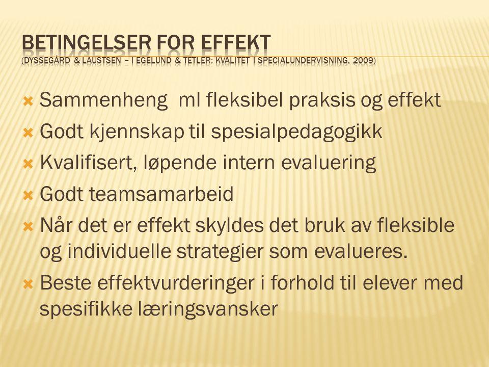 Betingelser for effekt (Dyssegård & Laustsen – i Egelund & Tetler: kvalitet i specialundervisning, 2009)