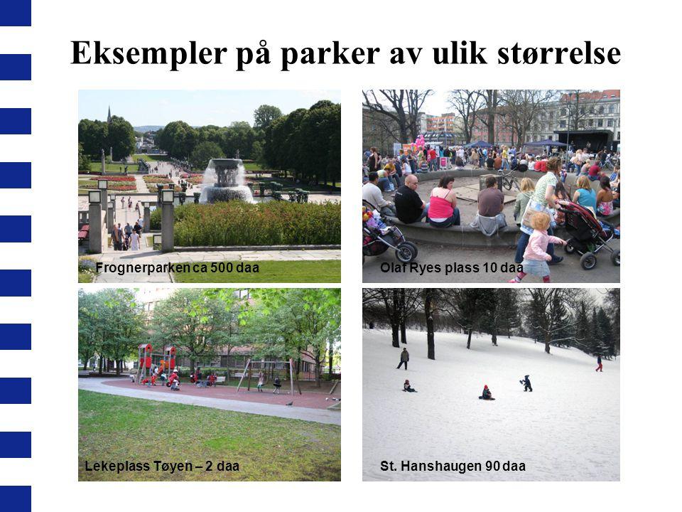 Eksempler på parker av ulik størrelse