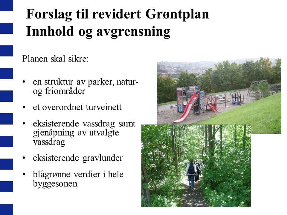 Forslag til revidert Grøntplan Innhold og avgrensning