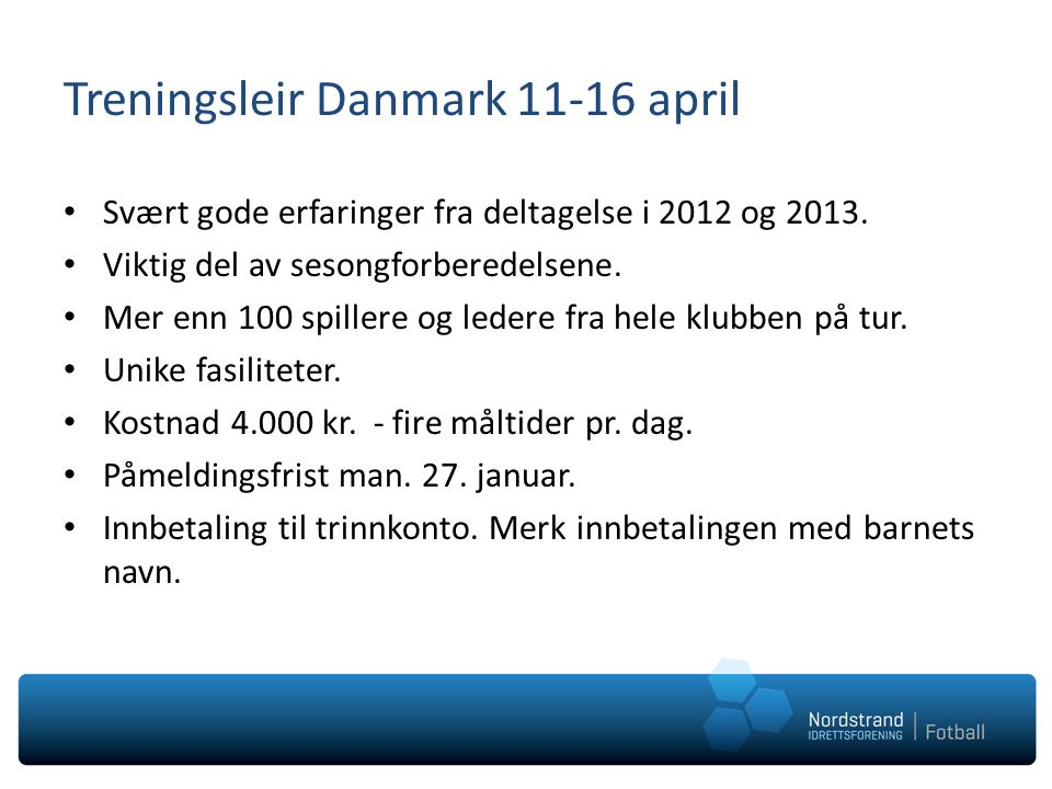 Treningsleir Danmark 11-16 april