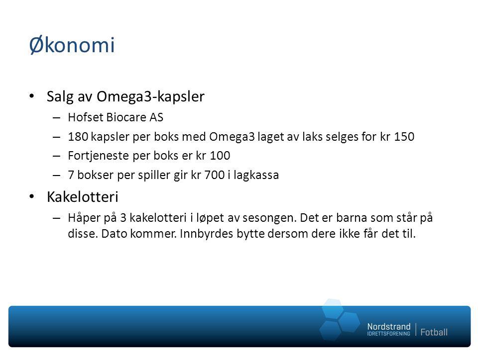 Økonomi Salg av Omega3-kapsler Kakelotteri Hofset Biocare AS