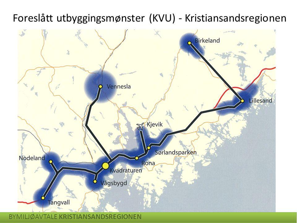 Foreslått utbyggingsmønster (KVU) - Kristiansandsregionen