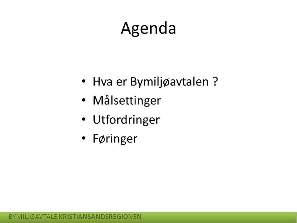 Agenda Hva er Bymiljøavtalen Målsettinger Utfordringer Føringer