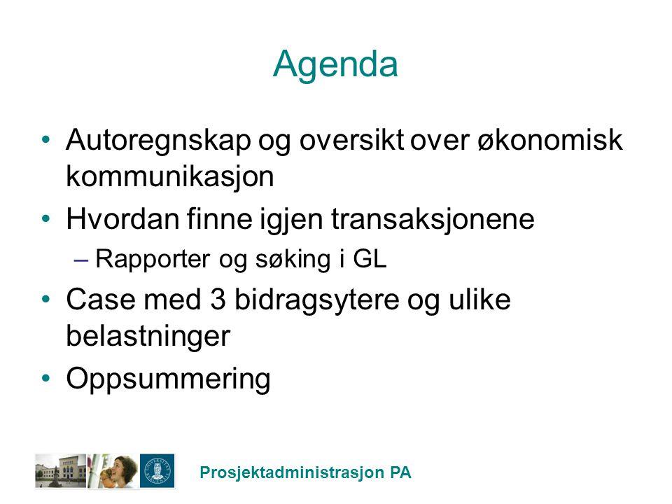 Agenda Autoregnskap og oversikt over økonomisk kommunikasjon