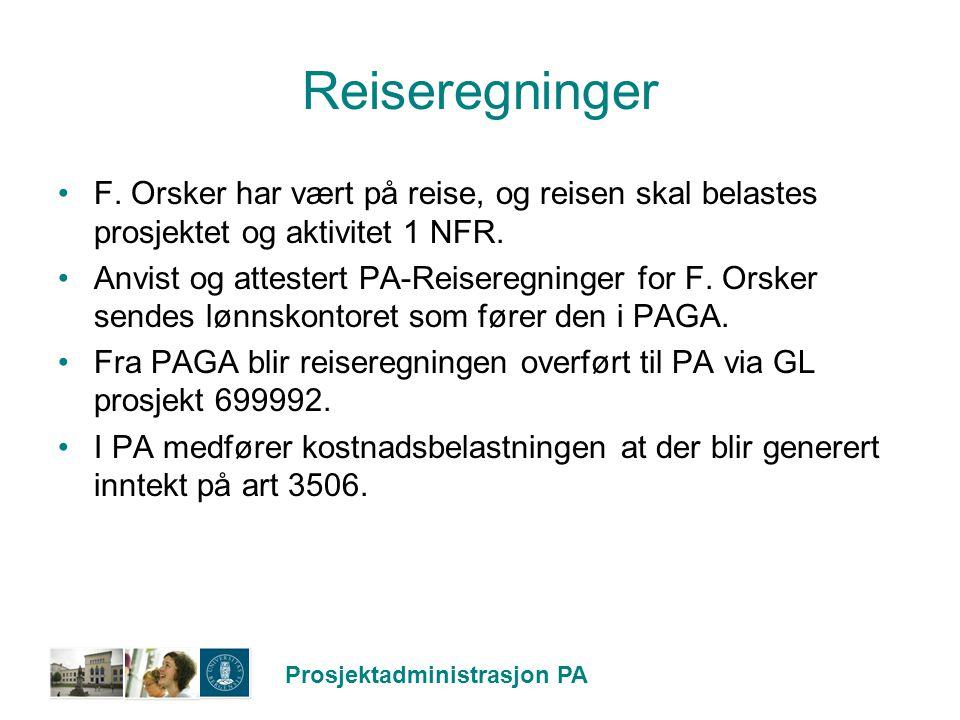 Reiseregninger F. Orsker har vært på reise, og reisen skal belastes prosjektet og aktivitet 1 NFR.