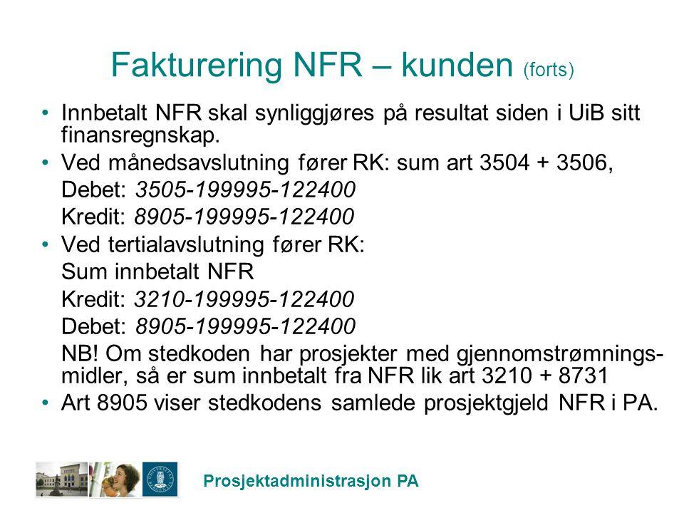 Fakturering NFR – kunden (forts)