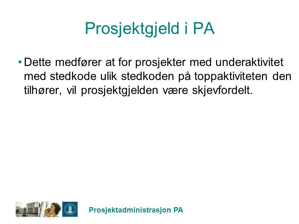 Prosjektgjeld i PA