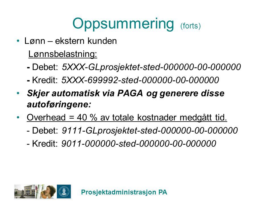 Oppsummering (forts) Lønn – ekstern kunden Lønnsbelastning: