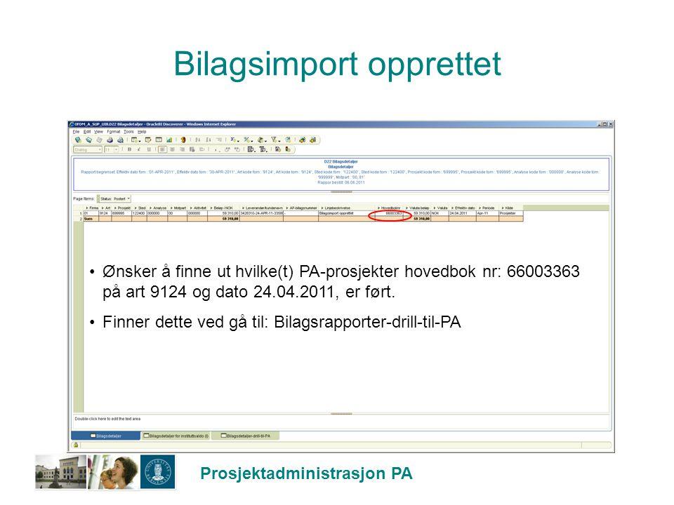 Bilagsimport opprettet